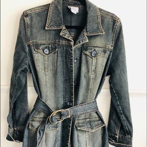 Heavy Dark Jeans Trench Coat Lords Taylor • 12